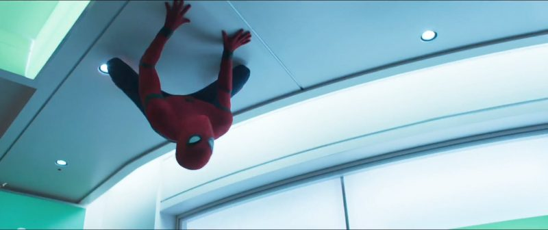spider man homecoming trailer tom holland on ceiling
