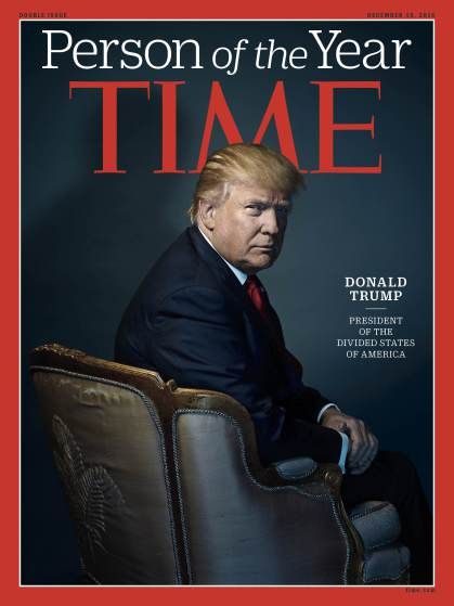 donald trump lands time magazine person of the year 2016 images