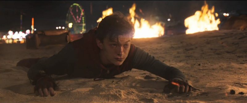 tom holland peter parker hurt on beach spider man homecoming