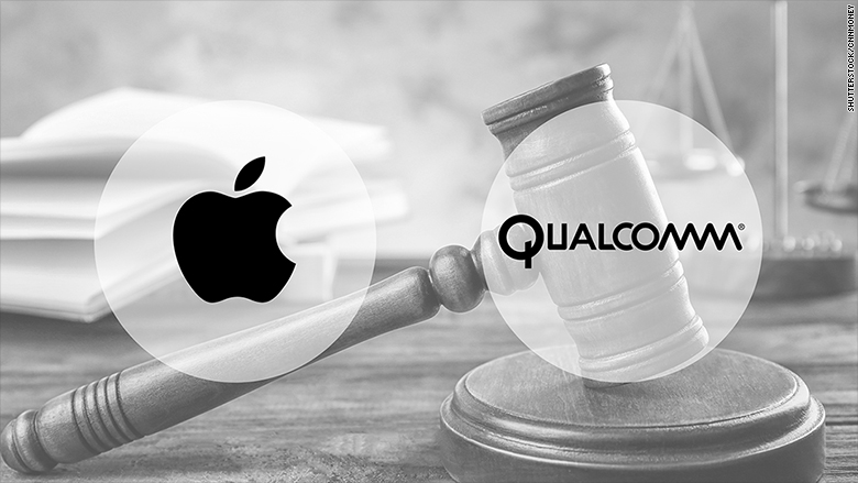 apple vs qualcomm $1b patent fight lawsuit 2017 images