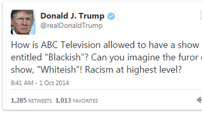 donald trump blackish tweet 2017