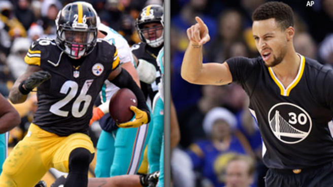 steelers leveon bell channels steph curry on field 2017 images