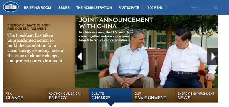 obama climate change page