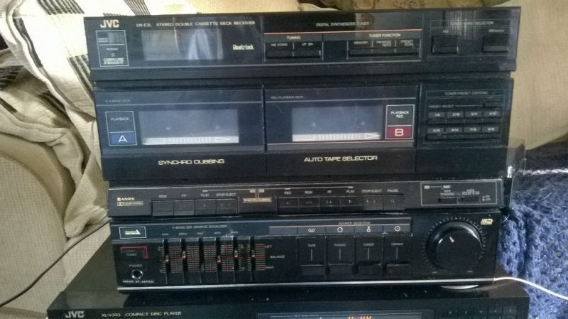 old style stereo system with cassette