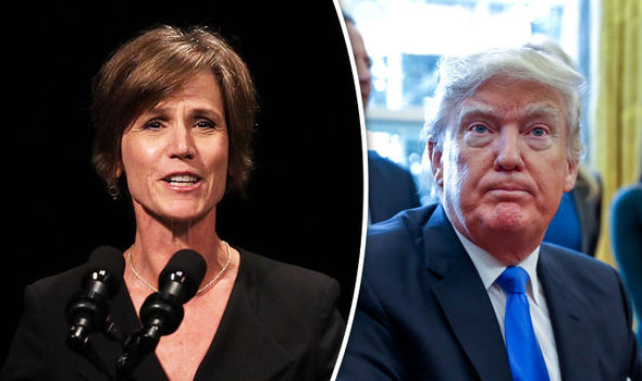 sally yates fired for not agreeing with donald trump ban