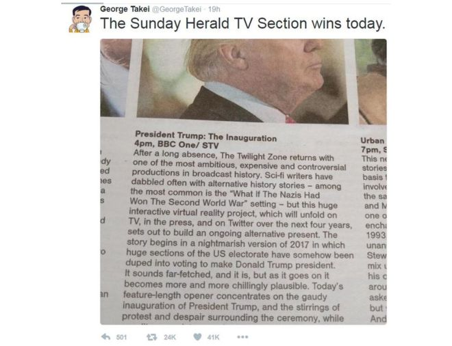 sunday herald on donald trump inauguration