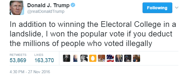 trump twitter claim on voter fraud