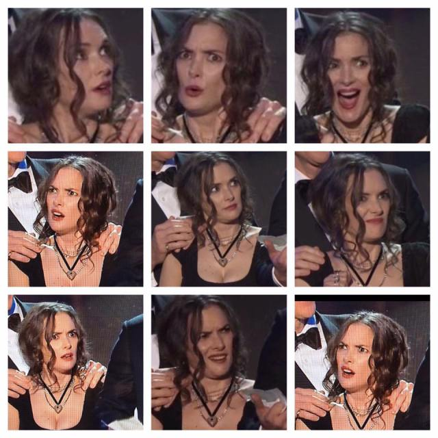 stranger things and winona ryders reactions steals sag awards 2017 images