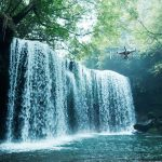 camera drone shooting waterfall