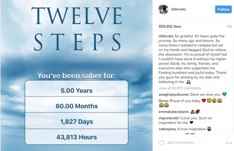 demi lovato sobriety instagram post