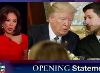 donald trump attacks paul ryan with Foxs jeanine pirro 2017 images