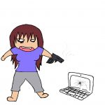 dumb laptop woman