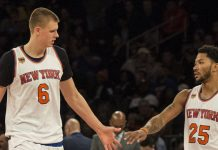 knicks triangle offensive splits kristaps porzingis and derrick rose 2017 images