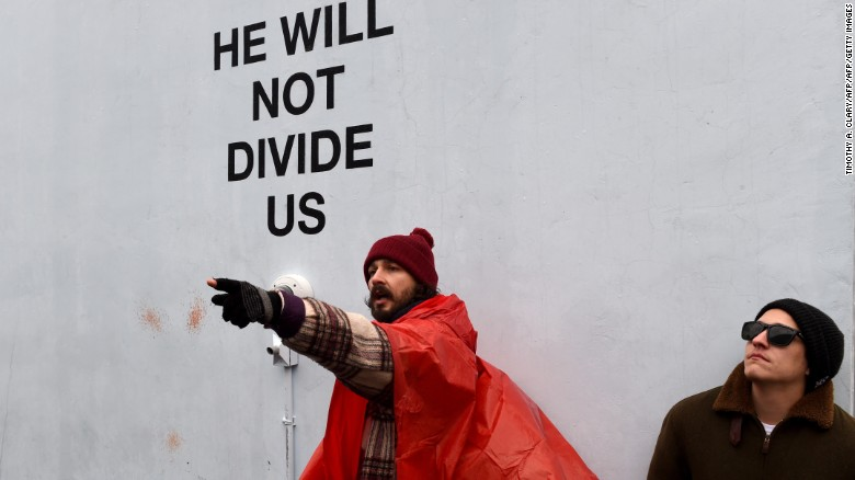 shia labeouf moves anti trump protest again