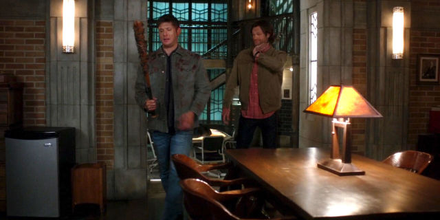 supernatural dean winchester with lucille bat