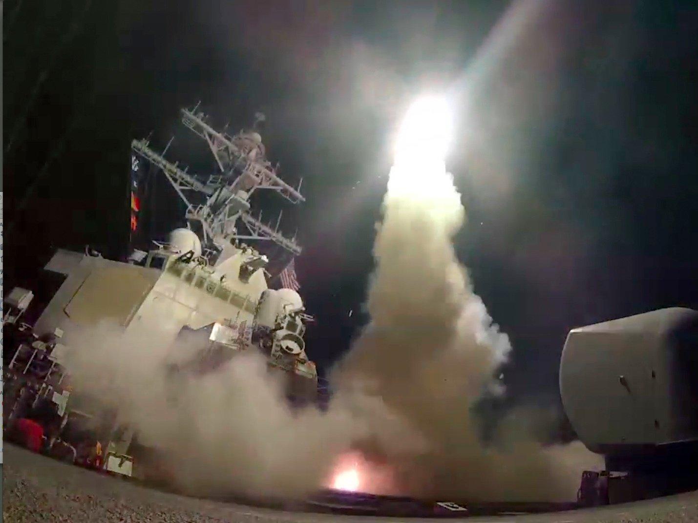 syria feels us 50 missiles blast 2017 images