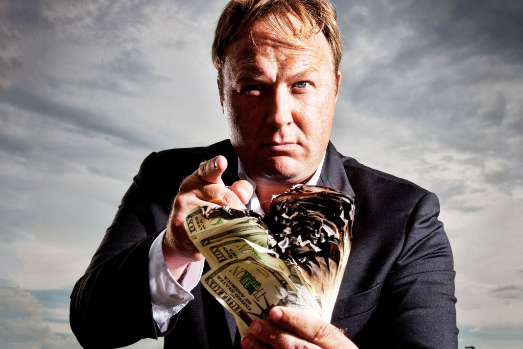 alex jones making money by playing a character