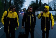 borussia dortmund team work to overcome bomb attack 2017 images