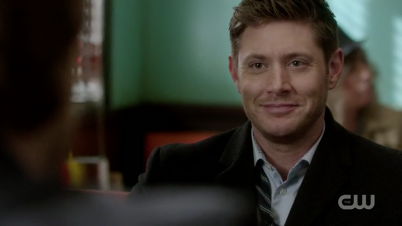 supernatural dean winchester smile after waitress kiss memory remains