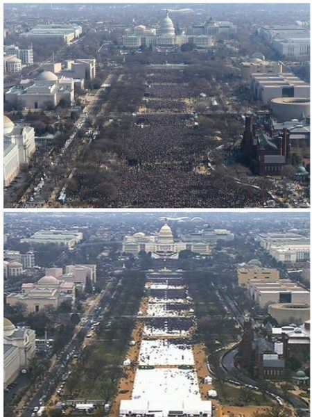 barack obama vs donald trump inauguration crowd size