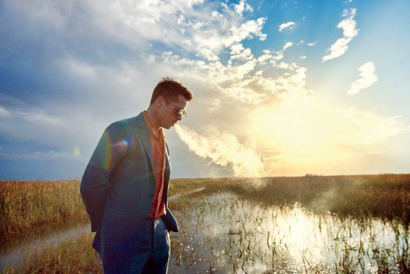 brad pitt exhaling smoke in everglades