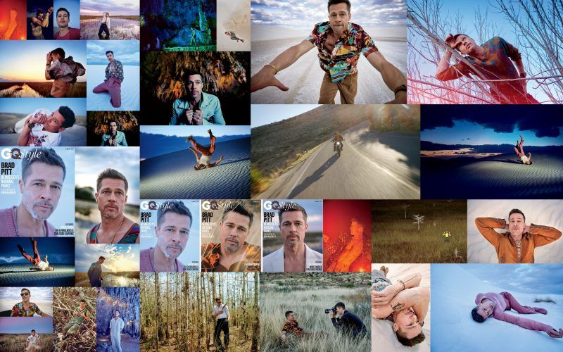 brad pitt gq national tour images collage
