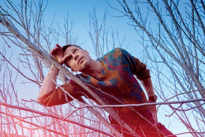 brad pitt laying on empty branches