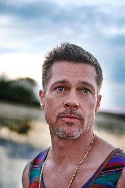 brad pitt looking forlorn shirtless