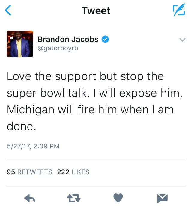 brandon jacobs jim harbaugh tweet