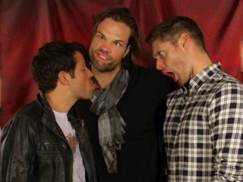 misha collins with jensen ackles jared padalecki