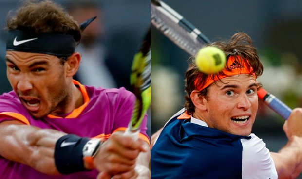 rafael nadal beats off dominic thiem at madrid open 2017
