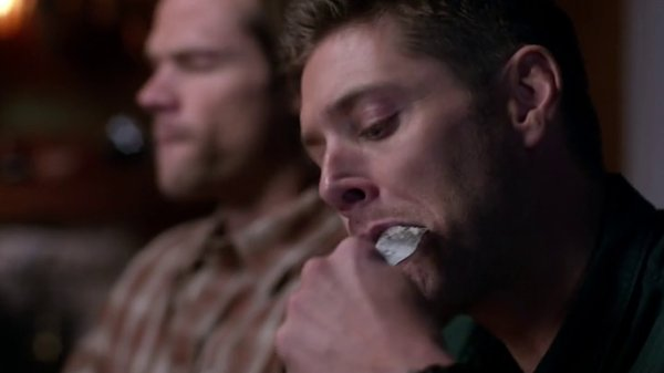 supernatural jensen ackles shoving bulge jared padalecki into mouth