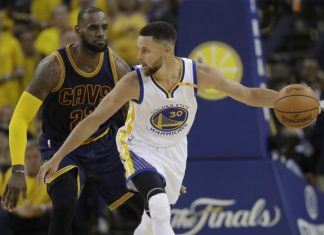 golden state warriors take game 1 vs cavs 113-91 with curry durant power 2017 images