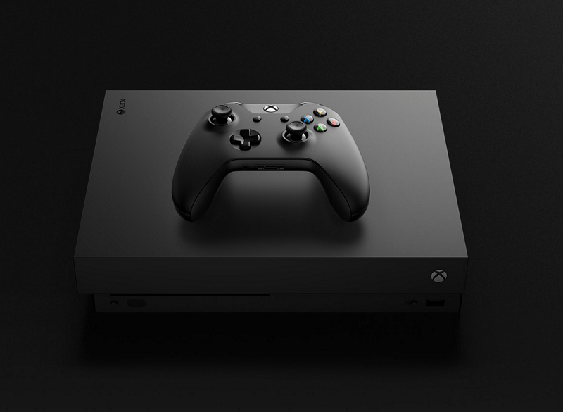 xbox one x controller on top of console