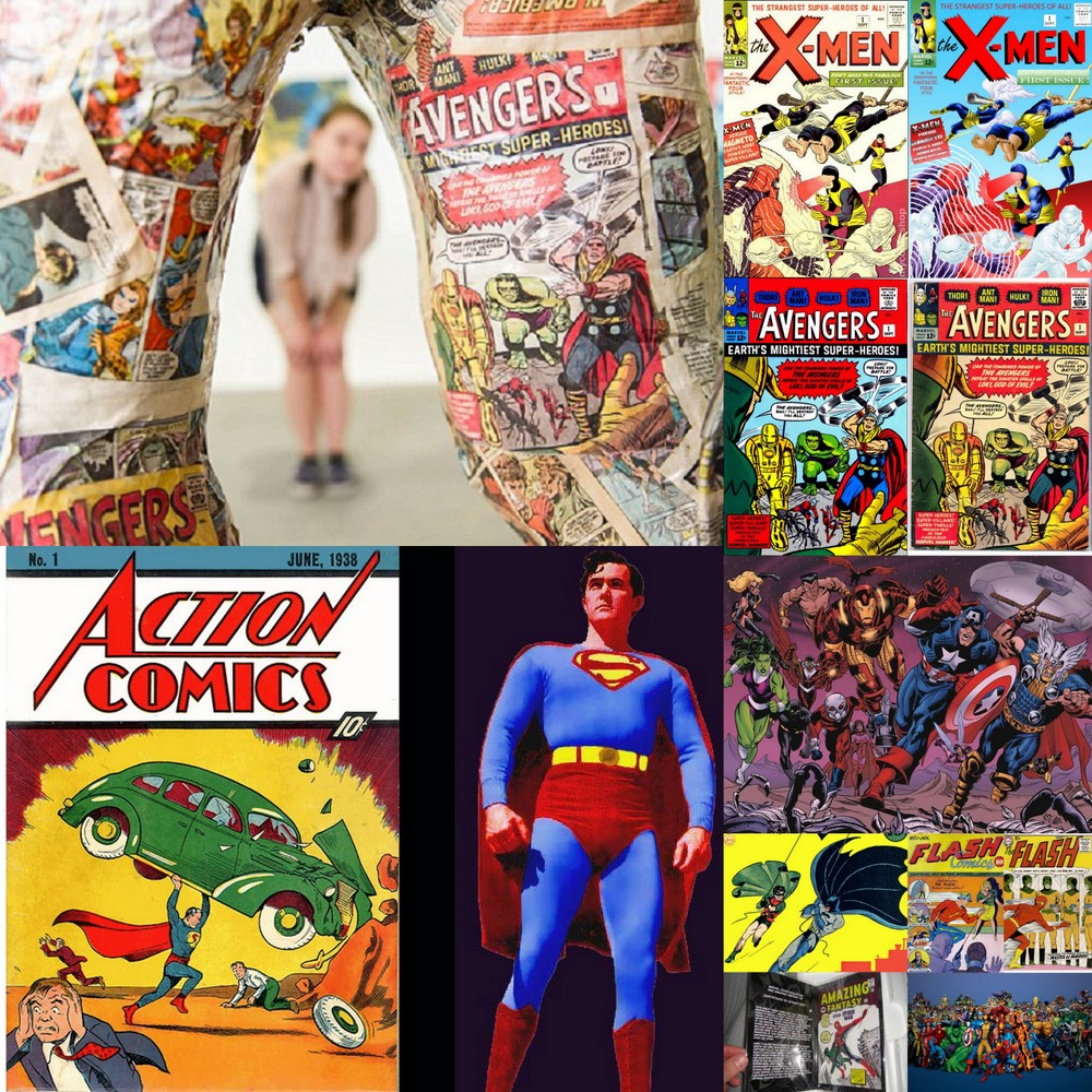 Sculptor using collectable comics in sculpture