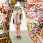 artist used old comics for art sculpture