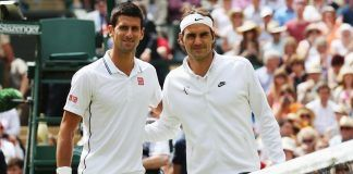 novak djokovic and roger federer on those wimbledon courts 2017 images