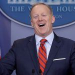 sean spicer quits while donald trump looks at pardons 2017 images