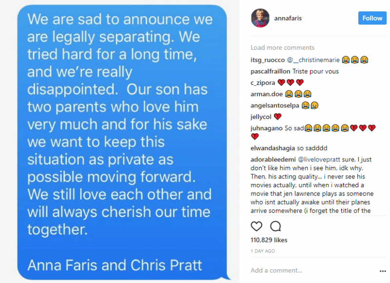 anna faris chris pratt split up on instagram 2017