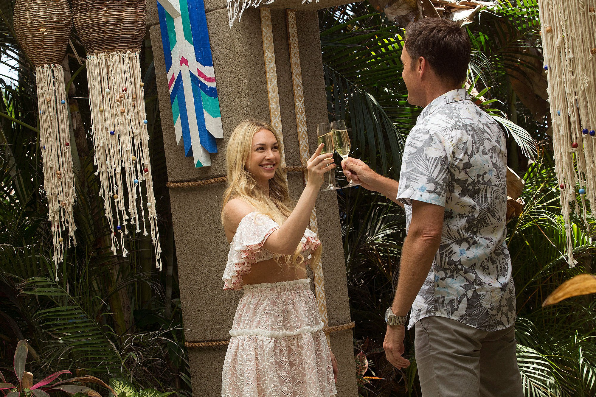 """If you have caught any of the Bachelor¬-related headlines over the past few weeks, you are likely well aware of the drama that overtook the set of Bachelor in Paradise. During the very beginning stages of filming this year's summer spin-off of the love-centric reality show, production was put on hold after allegations of sexual misconduct were made. However, after everything was cleared and the BIP crew got the go-ahead, ABC decided to continue on with season 4 of the hit show, which debuted on Monday (August 14th). Not surprisingly, ABC opted to really play up the whole scandal thing throughout the premiere episode of BIP. Prior to every single commercial break, Chris Harrison teased a particular situation that would shut down production (which we all know happened between contestants Corrine and DiMario). Prior to all the drama unfolding, the show began as it normally does, as the cast of this season made their way in one-by-one. So who [started off] on this season of Bachelor in Paradise? Chris Harrison helped welcome in: Raven Gates, Robby Hayes, Taylor Nolan, Derek Peth, Amanda Stanton, Ben Zorn, Alexis Waters, Alex Woytkiw, Lacey Mark, Nick Benvenutti, Corrine Olympios, Vinny Ventiera, Jasmine Goode, Kristina Schulman, Danielle Maltby, and DeMario Jackson. While most of the arrivals to Paradise came welcomed by all, there was one contestant this season that made waves right away (not in a good way). Chatting amongst each other, the initial few cast mates speculated about who they thought would be showing up next. Subsequently, this prompted several of the contestants – predominantly the women – to admit that they hoped DeMario (from Rachel's season) wouldn't show up. Inevitably, this is precisely when DeMario waltzed in, as he annoyingly continued to blow a whistle and beg his fellow contestants for a """"new beginning."""" As you may or may not know, DeMario was at the center of controversy while he was a contestant on Rachel's season of The Bachelorette, as it was"""