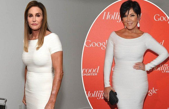 caitlyn kris jenner wear same white dress together