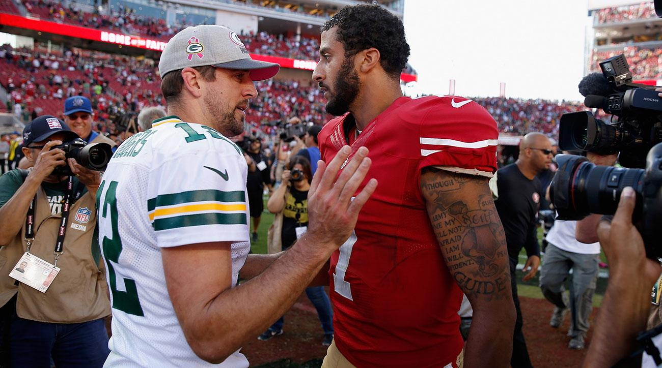 colin kaepernick finds a defender in packers aaron rodgers 2017 images