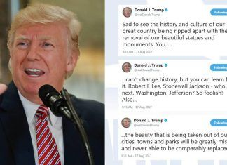donald trump tweet about confederate statues history