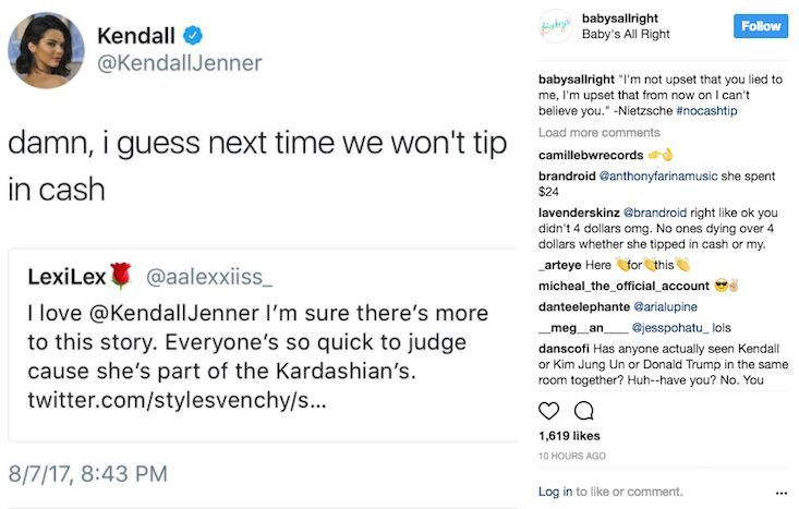 kendall jenner babys all right instagram slam