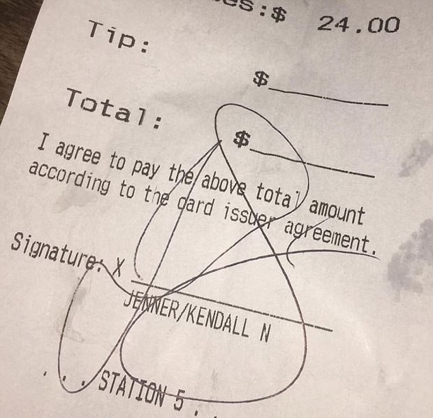 kendall jenner bar receipt