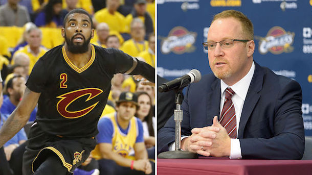 david griffin standing behind kyrie irvings cavaliers trade 2017 images