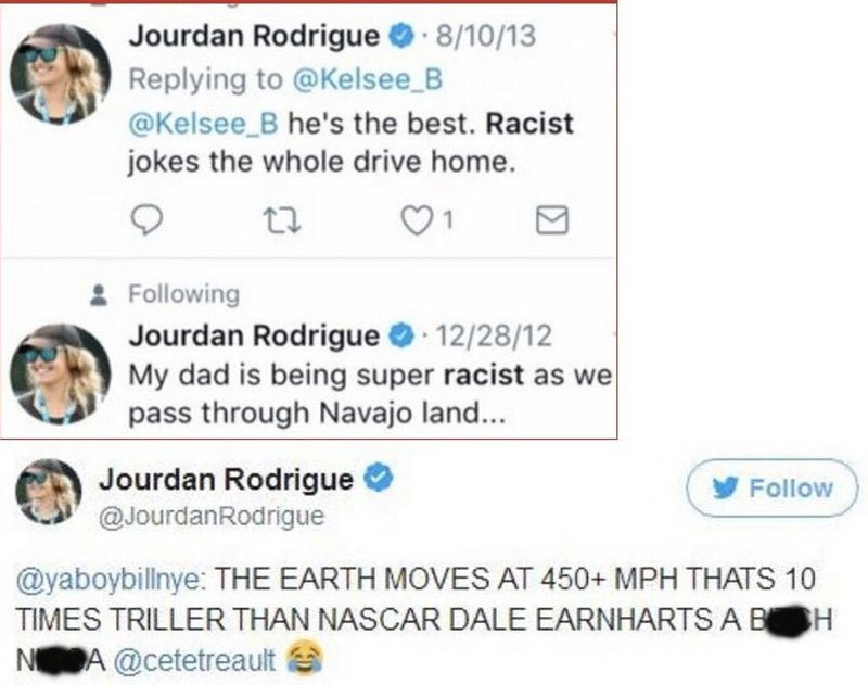 Jourdan Rodrigue racist tweets pop up for cam newton defense 2017 images