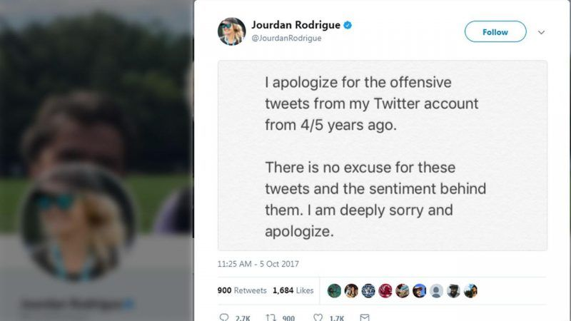 Jourdan Rodrigue offensive tweets kick off cam newton