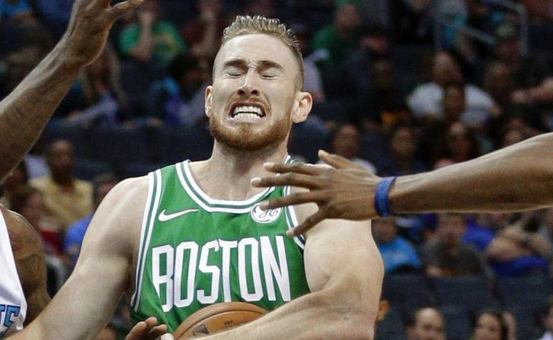 boston celtics gordon hayward reacts to ankle break