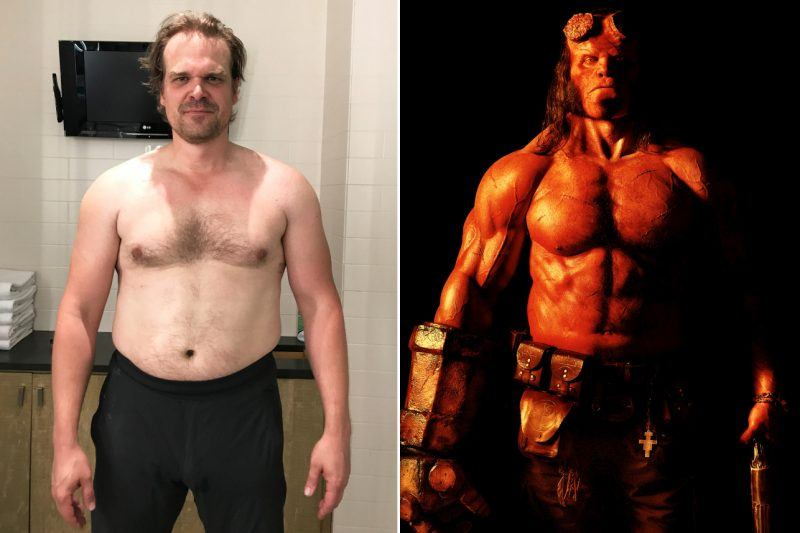 david harbour before working out to get into Hellboy shape interview